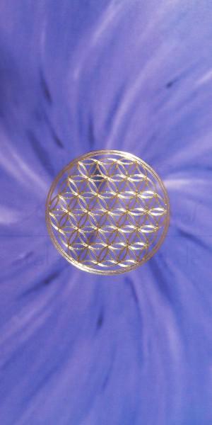Blume des Lebens Lesezeichen mit goldener Reliefprägung | Kronenchakra violett | designed by atalantes spirit®