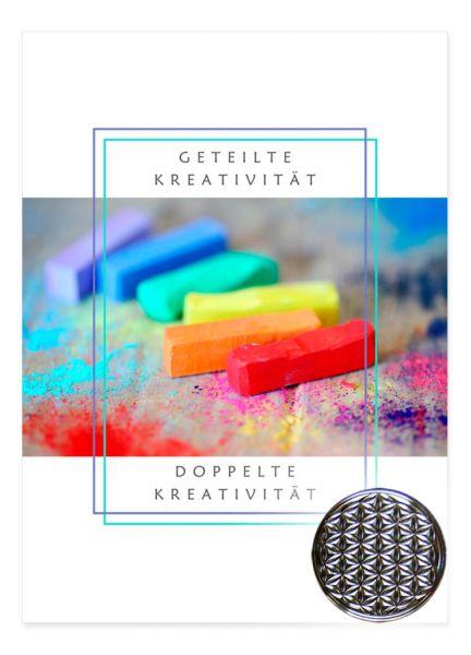 Kreativität - Blume des Lebens Glücksmünze - silber